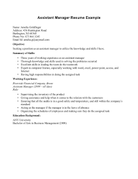 Plumber Resume Examples by Examples Of Resumes Simple Assistant Manager Resume Example With