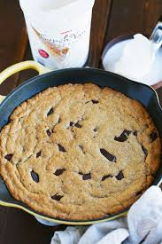 coconut oil skillet chocolate chunk cookie table for two