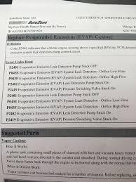 evap system check engine light check engine light 10 different evap codes tacoma world