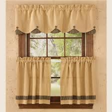country scalloped valance curtains burlap u0026 check black 72