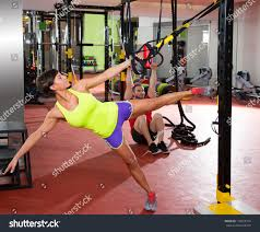crossfit fitness trx training exercises gym stock photo 139058174
