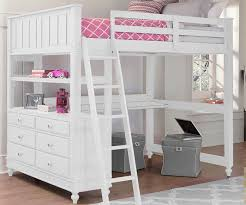 1045 full size loft bed with desk white lakehouse collection