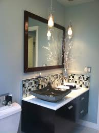 ultramodern guest bathroom with blacak wooden floating bath vanity