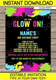 birthday party invitations neon glow party invitations template editable and printable