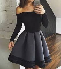 little cute elegant black long sleeve short prom dress evening