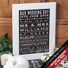 personalised wedding gifts personalised wedding gifts typographic prints canvases