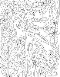 free koi pond with lillies coloring book image from liltkids