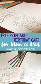 printable birthday cards that you can color free printable birthday cards to color six clever sisters