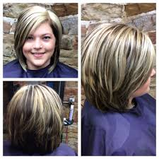 layered long bob platinum highlights and dark brown lowlights
