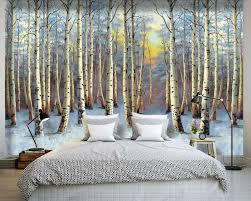 high quality vinyl wall paper forest buy cheap vinyl wall paper custom 3d murals landscape painting poplar forest sunset wall paper mural 3d living room
