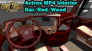 mercedes benz actros mp4 red ets 2 actros mp4 exlusive dark red wood interior youtube