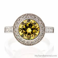 faux engagement rings cubic zirconia bezel set canary engagement ring my faux