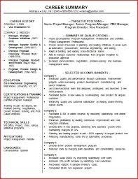 summary in a resume resume career summary exles berathen
