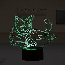 usb cat night light lovely 7 colors 3d cat night light animal l led usb 3d illusion