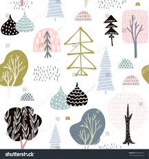 seamless pattern abstract trees forest elements stock vector