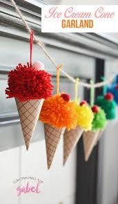 ice cream cone garland yarn pom poms diy ice cream and paper cones