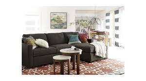 2 Sofas In Living Room by Davis 2 Piece Sectional With Storage Ottoman Crate And Barrel