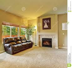 cozy living room cozy living room with carpet and fireplace stock photo image