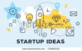startup ideas concept on blue background stock vector 716137048