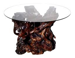 Redwood Dining Table Custom Redwood Burl Glass Top Dining Table Stohans Showcase