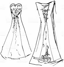 wedding dress sketch 9 raster stock vector art 115443705 istock