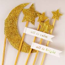 5 Gold Glitter Moon U0026 Star Cake Toppers Pipii