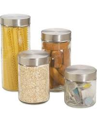 deals on home basics 4 piece glass canister set with stainless