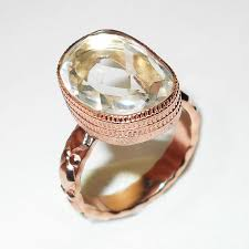 wholesale gold rings images Crystal quartz cut b gr982 charming fashion rose gold vermeil jpg