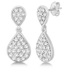 diamond teardrop earrings pave set diamond dangle teardrop earrings 14k white gold 1 20ct