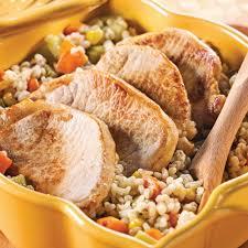 côtelettes de porc et pilaf d orge aux légumes recettes