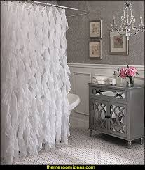 Country Themed Shower Curtains Glam Bathroom Decorating Cascade Shabby Chic Ruffled Sheer Shower