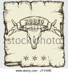 skull ribbon retro style rodeo poster with longhorn skull ribbon banner and