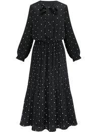 bow tie collar long sleeve polka dot pleated maxi dress oasap com