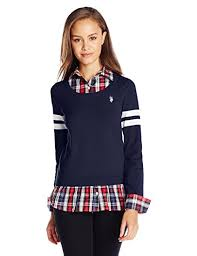 juniors sweater amazon com u s polo assn juniors plaid twofer pullover sweater