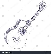 acoustic guitar sketch drawing isolated on stock vector 176199875