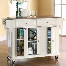 kitchen island cart stainless steel top darby home co pottstown kitchen island with stainless steel top