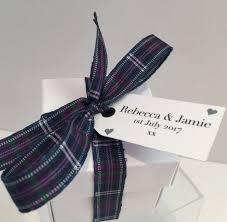 tartan ribbon highland favour box with standard tartan ribbon highland favours