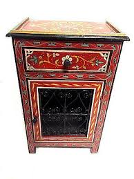 moroccan handpainted nightstand wood u0026 iron table arabic design