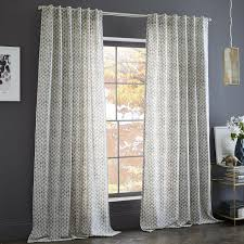 Living Rooms With Curtains Cotton Canvas Stamped Dots Curtains Set Of 2 Platinum West Elm