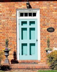 red brick house front door color love blue doors colors paint