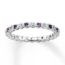 amethyst engagement ring custom by kay stackable amethyst ring 1 20 ct tw diamonds sterling silver
