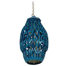 Bitossi Home Outlet by Italian Mid Century Modern Blue Glazed Pottery Hanging Lamp After
