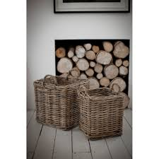 Rattan Baskets by Two Square Log Baskets In Rattan Fireside Accessories Cuckooland