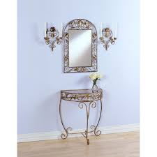 Mirror Sconce 4 Pc Gold Console Mirror Sconce Set 48029 Wall Art At