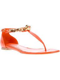 alexander mcqueen flat skull sandals in orange lyst