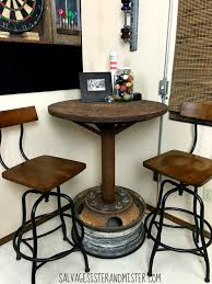 Industrial Bar Table Remodelaholic Salvaged Diy Industrial Bar Table