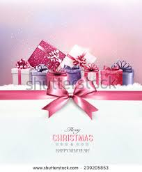 merry card ribbon gift boxes stock vector 239205853