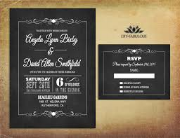 vintage wedding invitation chalkboard wedding invitation printable retro wedding invitation