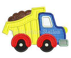 cute full dump truck applique machine embroidery design boy
