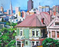 Victorian House San Francisco by San Francisco Skyline Painting Victorian House Painted